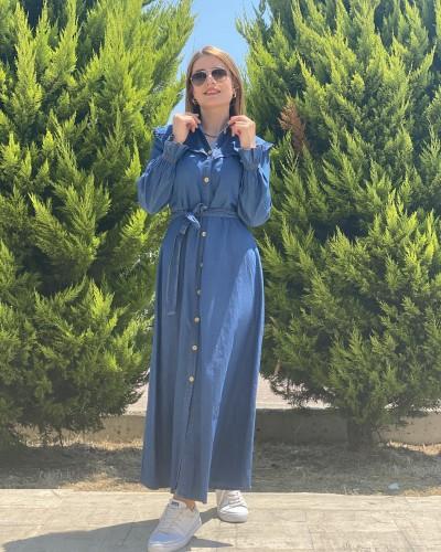 Kol Lastik Fırfır Detay Elbise