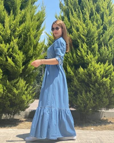 Düğmeli Uzun Kot Elbise
