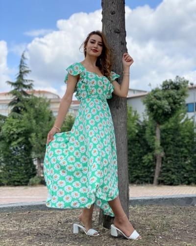Kelebek Omuz Ayçiçek Elbise