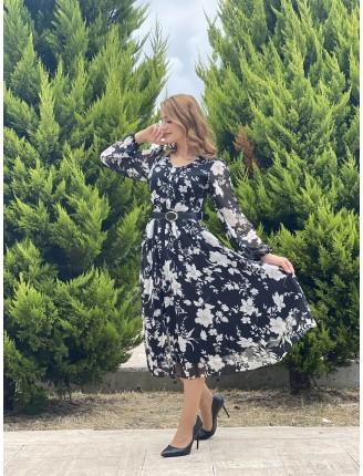 Beyaz Çiçek Kemer Detay Piliseli Şifon Elbise