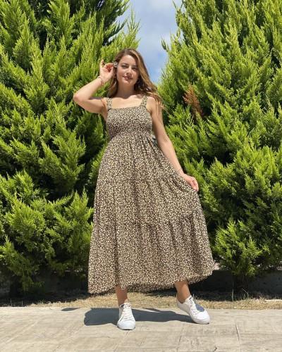 Gipeli Papatya Desen Askılı Viskon Elbise