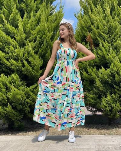 Gipeli Boya Desen Askılı Viskon Elbise