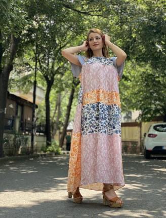 Parça Desen Renkli Elbise