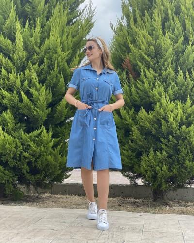 Metal Düğme Cep Detay Kot Elbise