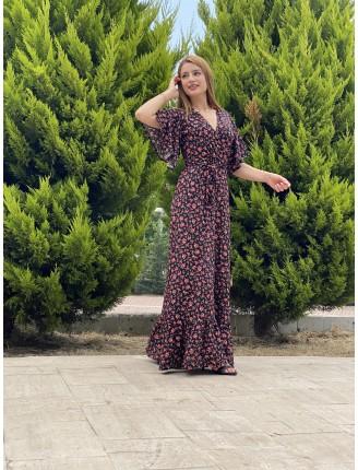 Kol Volanlı Gül Desen Uzun Elbise