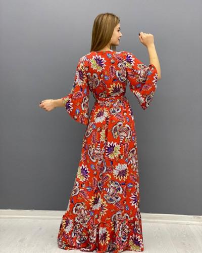 Kiremit Zambak Desen Cicek Elbise