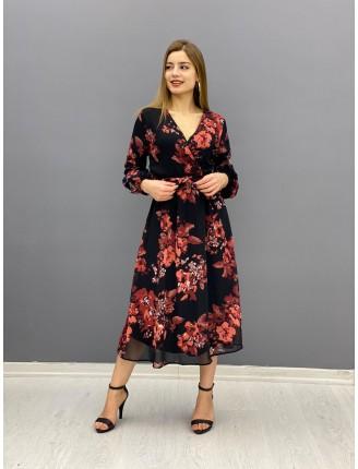 Şifon Çiçekli Elbise 2090