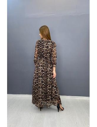 Siyah Leopar Uzun Şifon Elbise