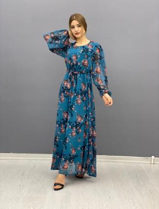 Şifon elbise mavi çiçekli