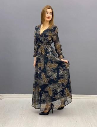 Şifon elbise mav