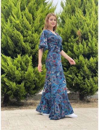 Şal Desen Yarasa Kol Uzun Elbise
