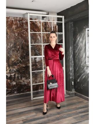 Piliseli Maxi Kadife Elbise