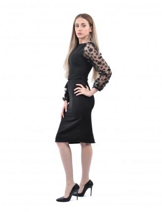 Siyah Kolu Papatya Kalem Elbise