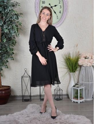 Siyah Kolu Büzgülü Düz Şifon Elbise