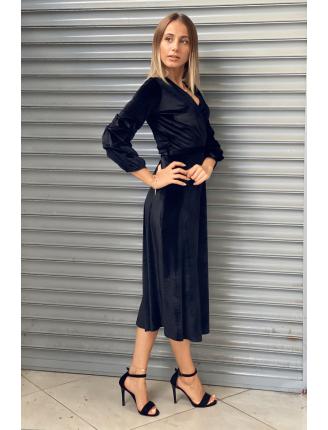 Düz Kadife Maxi Elbise