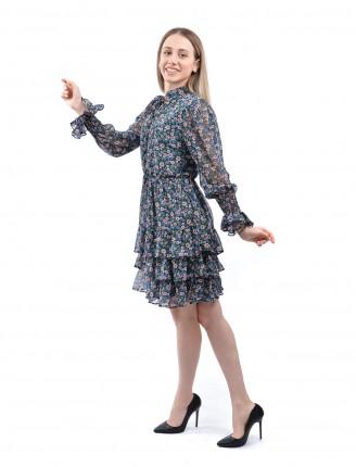 Siyah Kat Kat Pembe Çiçek Mini Şifon Elbise