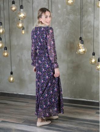 Mor Çiçek Uzun Şifon Elbise
