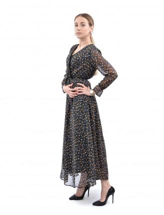 Renkli Papatya Uzun Şifon Elbise