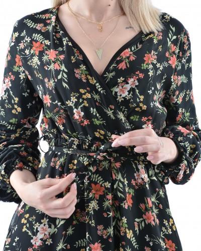 Siyah Kolu Büzgülü Çiçekli Midi Şifon Elbise
