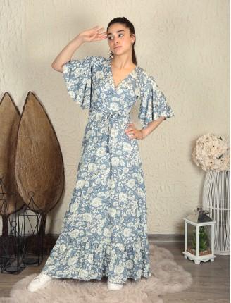 Büyük Çiçek Kısa Kol Viskon Elbise
