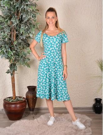 Sırt Çapraz Papatya Desen Elbise