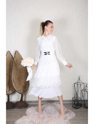 Transparan Kemer Detay Katlı Elbise