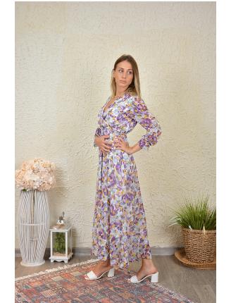 Lale Desen Şifon Elbise