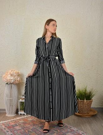 Siyah Çizgili Gömlek Elbise