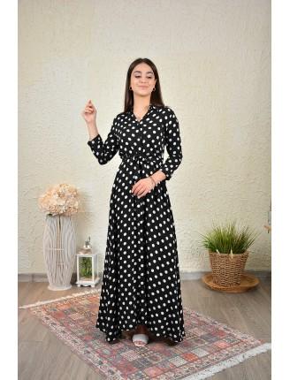 Siyah Puantiyeli Uzun Gömlek Elbise