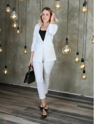 Beyaz Astarlı Blazer Ceket Takım