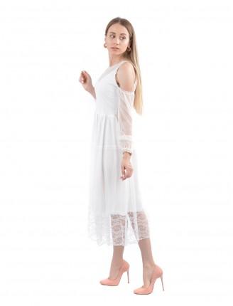 Beyaz Bella Omuz Detay Tül Elbise