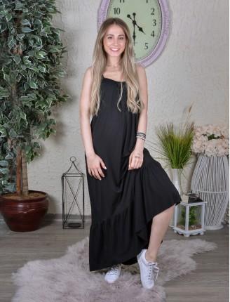 Siyah Askılı Egzotik Elbise