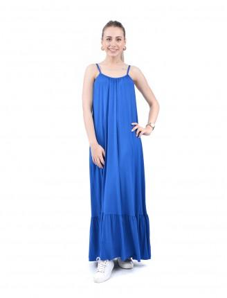 Mavi Askılı Egzotik Elbise