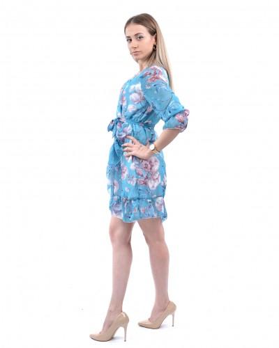Bebe Mavisi Manolya Mini Şofon Elbise