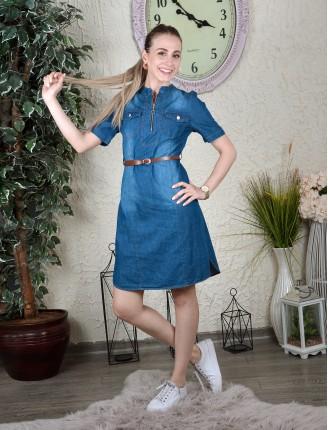 Mavi Fermuar Detay Kemerli Kot Tunik Elbise