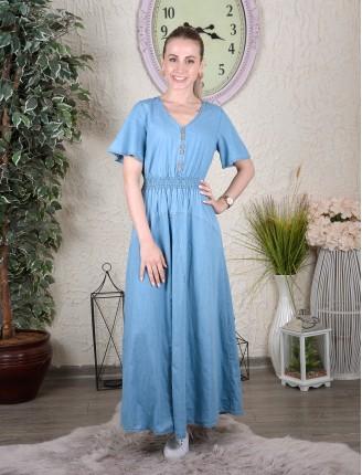 Mavi Bel Lastik Kısa Kol Kot Elbise
