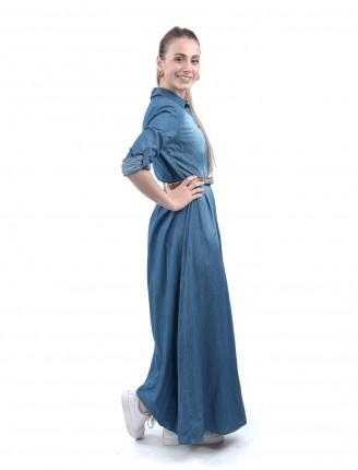 Gölgeli Uzun Düğmeli Kot Elbise