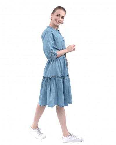 Hasır Kemer Otantik Kot Elbise