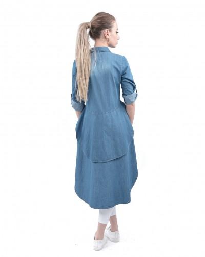 Mavi Asimetrik Kot Gömlek