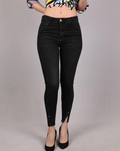 Siyah Paça Yırtık Düz Kot Pantalon