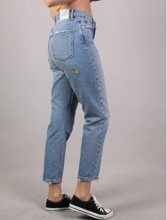 Mavi Cedric Baskı Mom Kot Pantalon