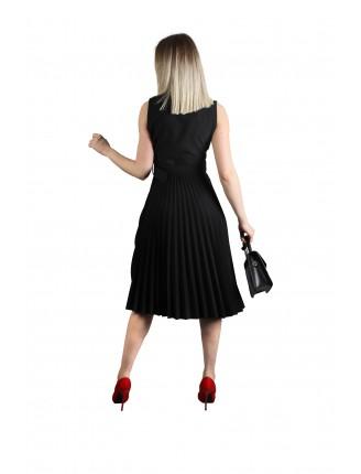 Klasik Piliseli Kolsuz Kemerli Elbise