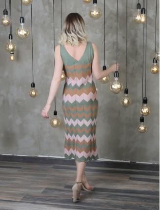 Çizgi Detay Zigzag Triko Elbise
