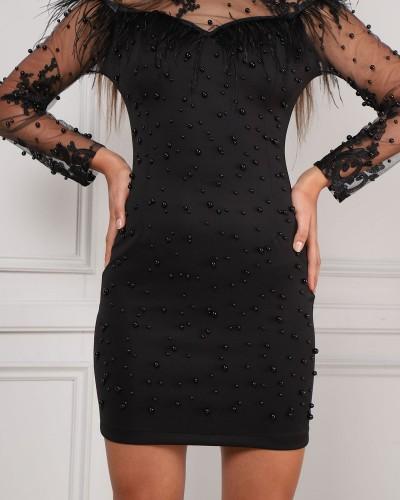 Siyah İncili Tüy Detay Kalem Elbise 5603