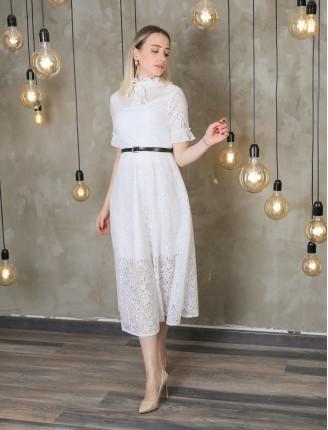 Beyaz Fırfır Kol Kemerli Güpür Elbise
