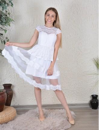 Beyaz Astarlı Beyaz Tül Elbise