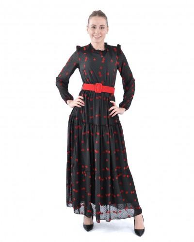 Kırmızı Papatya Kemerli Şifon Elbise