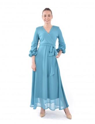 Mavi Kruvaze Yaka Kolu Büzgülü Uzun Şifon Elbise