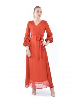 Kiremit Kruvaze Yaka Kolu Büzgülü Uzun Şifon Elbise