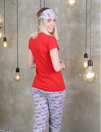 Kırmızı Uyku Bantlı Mickey Pijama Takımı